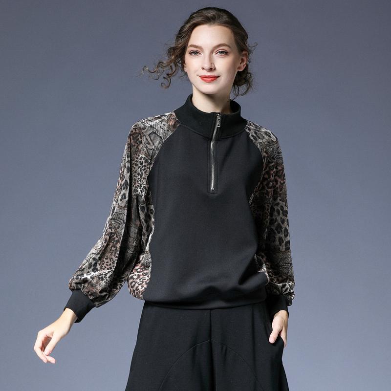 咫尺2020秋装新款宽松上衣袖蝙蝠女装服豹纹棒球大码百搭女外套