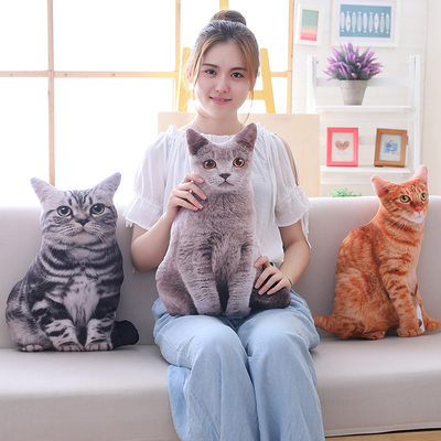 Simulation cat pillow cushion 3D removable and washable plush toy cat doll blue cat British short shape cute gift