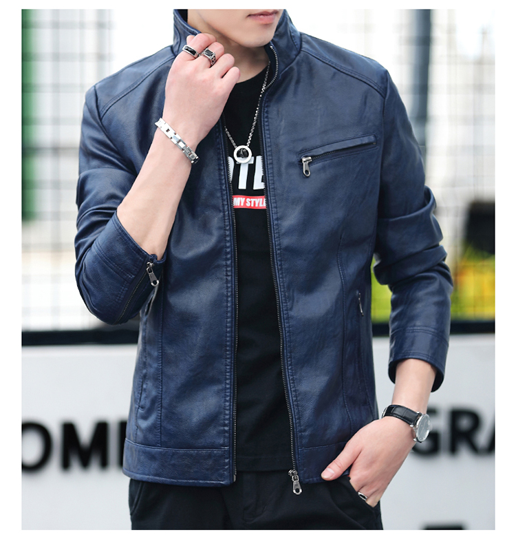 Men's leather 2020 autumn/winter new leather jacket handsome big size locomotive clothes trend a hundred men's jackets 57 Online shopping Bangladesh