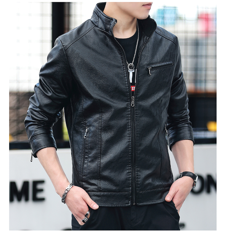 Men's leather 2020 autumn/winter new leather jacket handsome big size locomotive clothes trend a hundred men's jackets 48 Online shopping Bangladesh