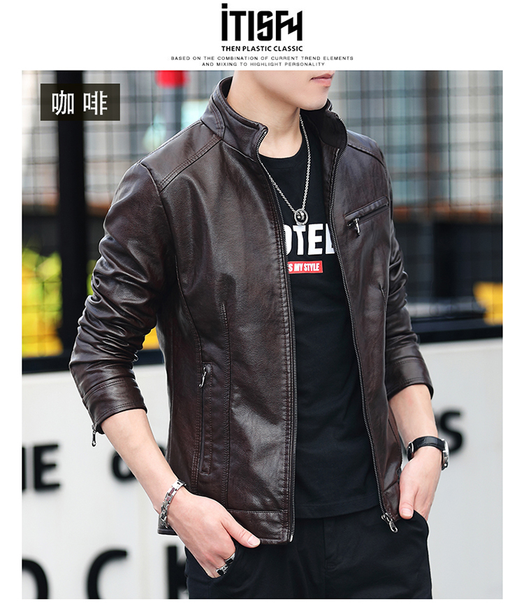 Men's leather 2020 autumn/winter new leather jacket handsome big size locomotive clothes trend a hundred men's jackets 54 Online shopping Bangladesh