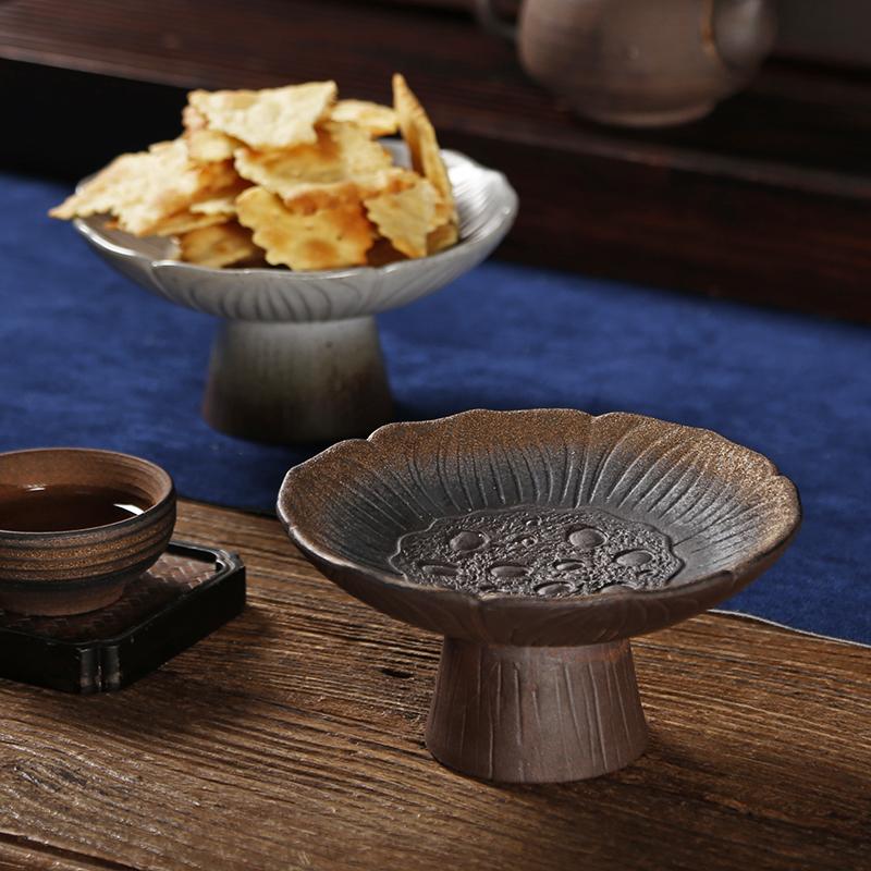 莲花禅意高脚盘茶点盘 粗陶餐具中式点心碟子碗 陶瓷日式复古托盘