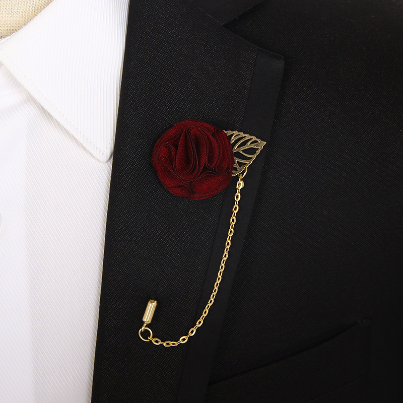 IFSONG men's suit brooch groom wedding collar flower Korean wedding collar needle peony flower fashion brooch