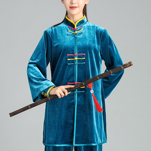 Tai chi clothing chinese kung fu uniforms Golden velvet Tai Chi Clothing suit women suit men autumn and winter Tai Chi Clothingquan training suit loose 2019 new competition performance clothes