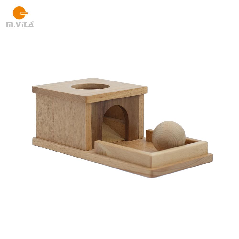 蒙生蒙台梭利NIDO手眼协调 榉木款永久目标盒子  带托盘盒子和球