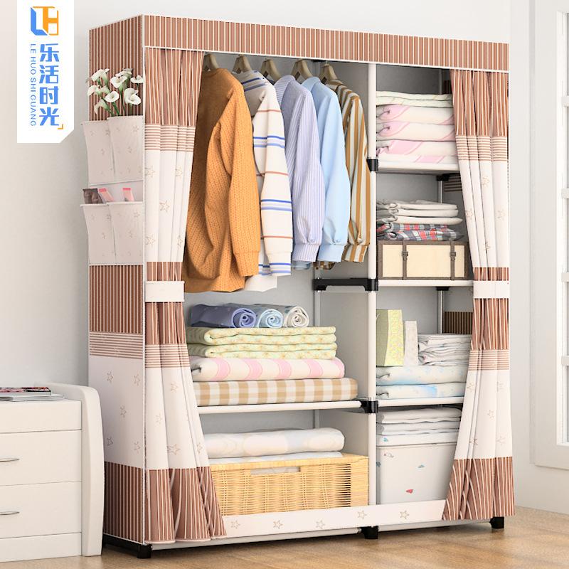 (终身售后)简易衣柜布艺布衣橱组装钢管加固钢架简约现代收纳柜