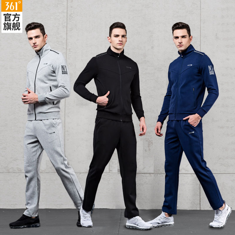 d1377be07e71 361 men s sports suit 2019 Spring New 361 Degrees running suit warm knit  casual sportswear