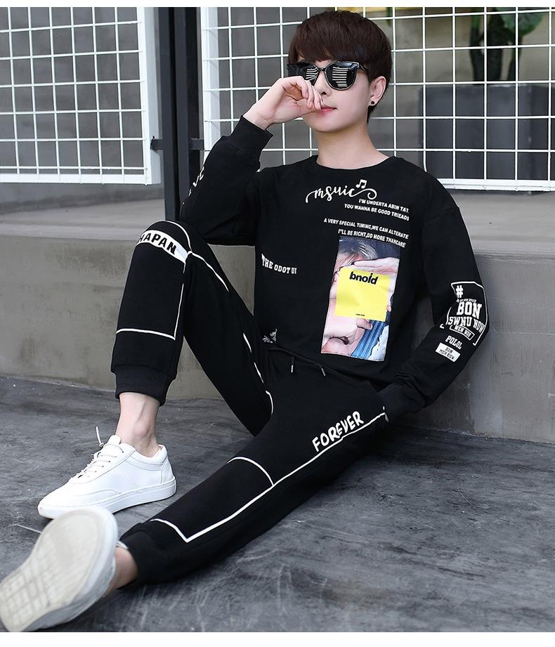 套装男青少年圆领T恤长袖长裤时尚休闲套装XZ313B-2-T146-P73