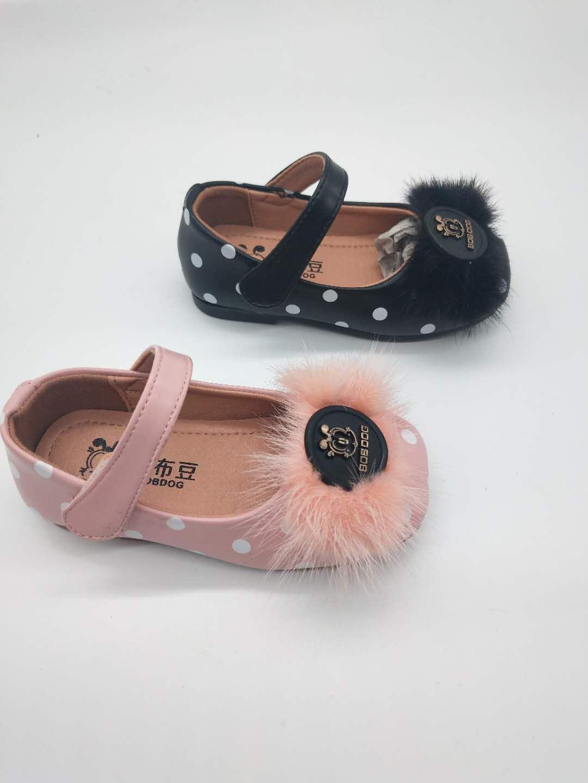 巴布豆Bobdog2019春季新款专柜秒发粘扣毛毛头漏脚面女童皮鞋
