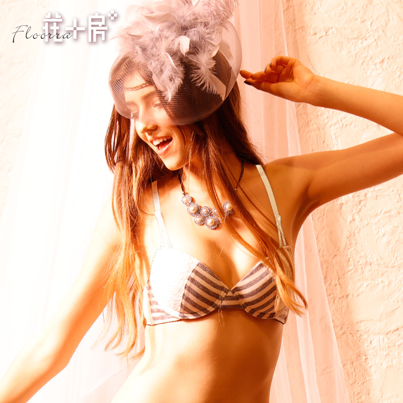 Váy hoa sọc mà không chèn áo ngực nữ Nhật đơn giản ren nữ sinh viên không trống ly đồ lót 175 - Push Up Bras
