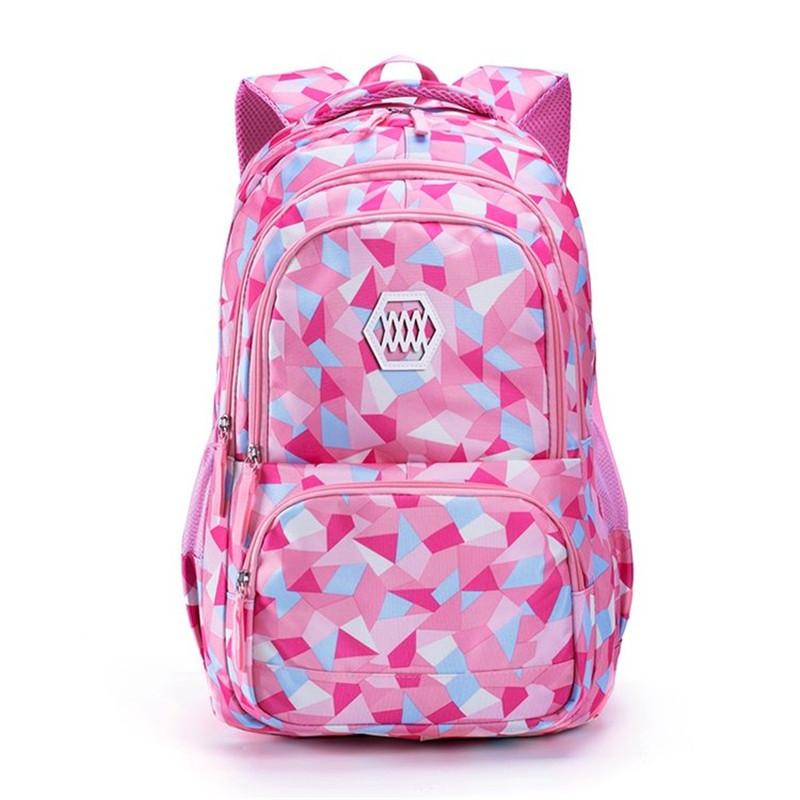 自然鱼日韩双肩包女几何图案小学生书包休闲初中学生背包大容量