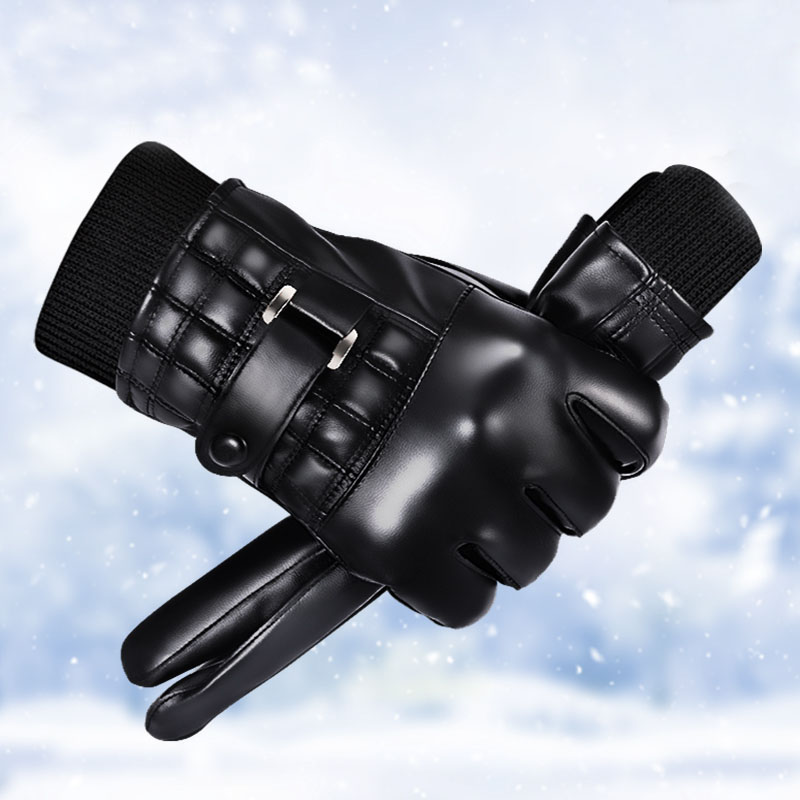 【天貓】男女款冬季全掌觸屏加絨騎行皮手套