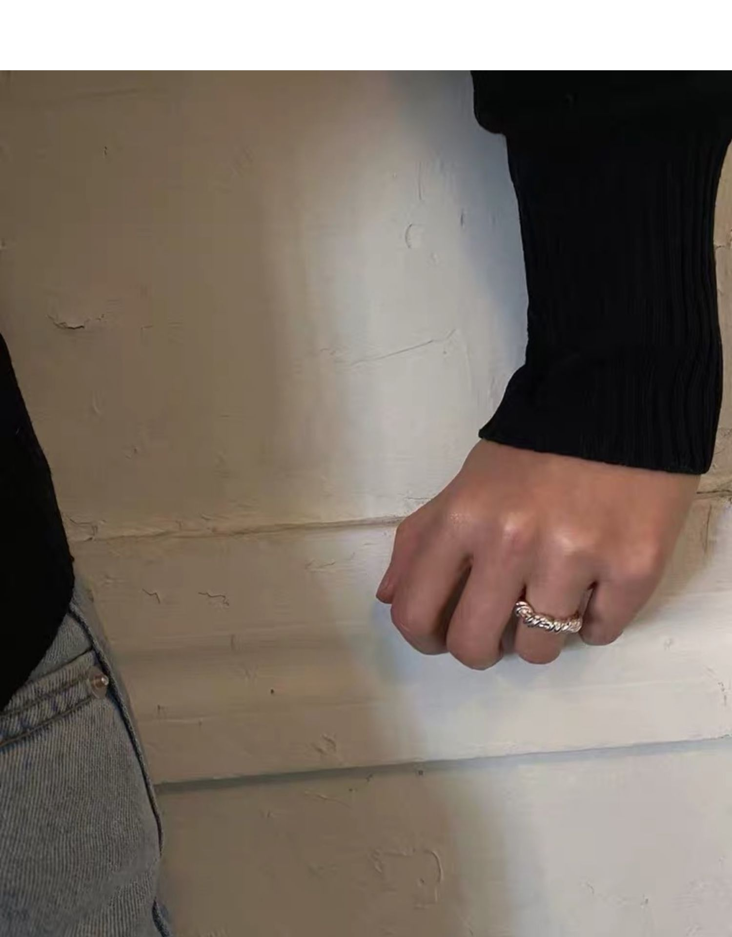 韩国小众独立设计师食指戒简约百搭镀金麻花打结戒指戒指女详细照片