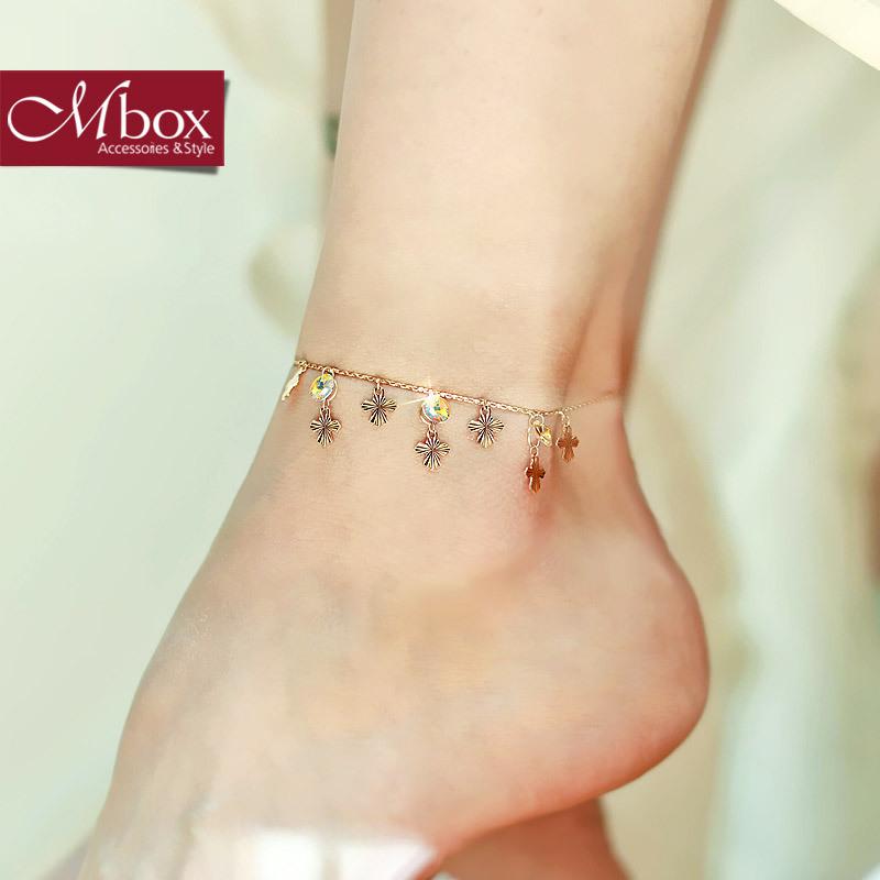 Mbox vòng chân nữ Hàn Quốc phiên bản đơn giản và tươi mới với các yếu tố Swarovski tinh thể vòng chân muốn đêm của bạn