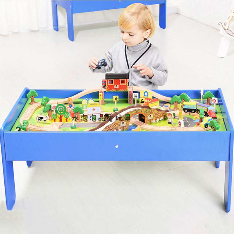 USD 177.93] EDWONE wooden track train with table beech wood track ...