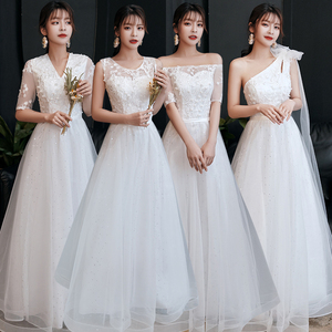 Evening dress prom gown Dress female white sister group banquet president style foreign style boudoir dress host evening dress