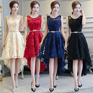 Evening dress prom gown Bridesmaid Dress simple atmosphere show thin, short front back long dress woman