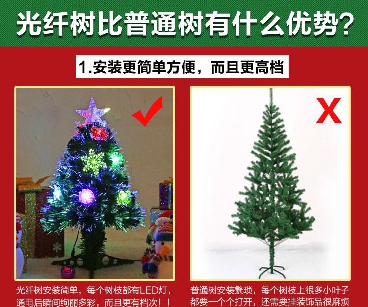 小型光纖樹聖誕樹60CM套餐 LED彩燈發光樹桌面柜臺擺件聖誕裝飾品