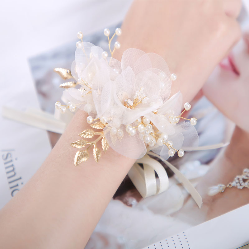 High-end super fairy beautiful crystal flower bridesmaid sister honey group wrist flower hand flower champagne knot wedding