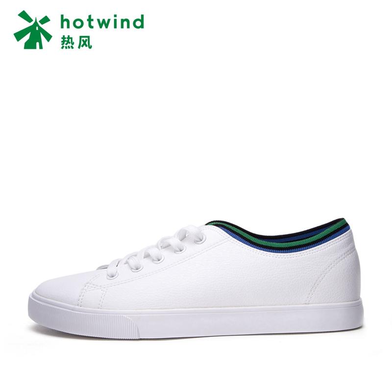 热风2018年春季新款学院风男士织带休闲鞋圆头低跟板鞋男H14M8121