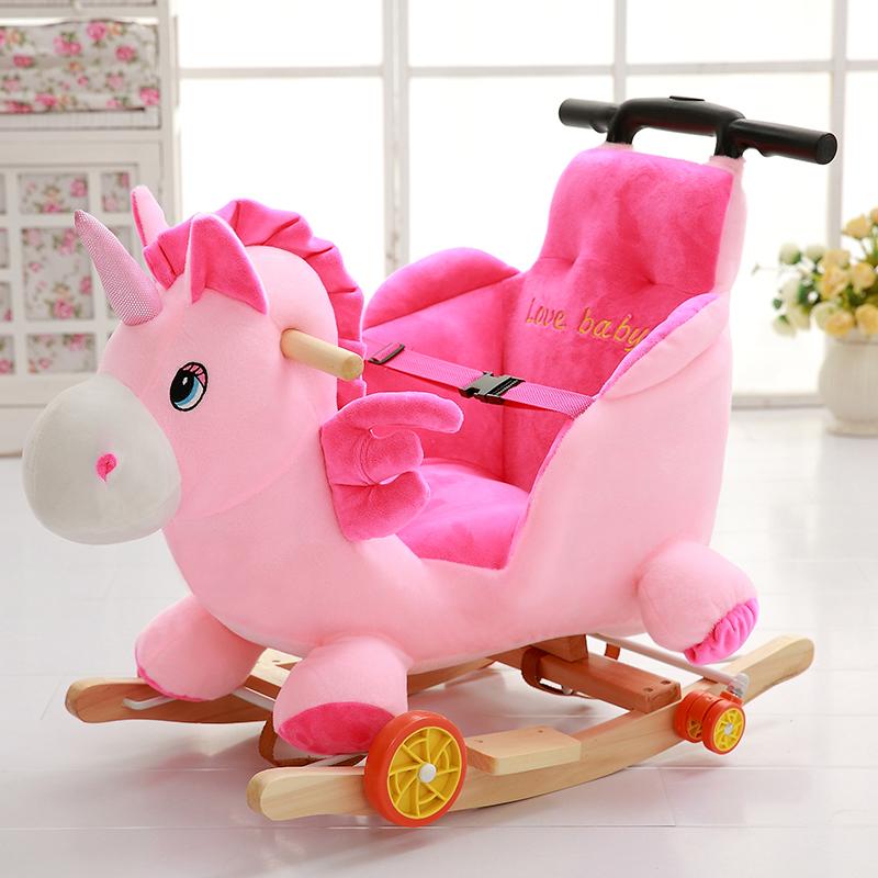 Ребенок троян лошадка-качалка двойной дерево озноб лошадь ребенок головоломка игрушка ребенок кресло-качалка музыка 1-3 лет подарок