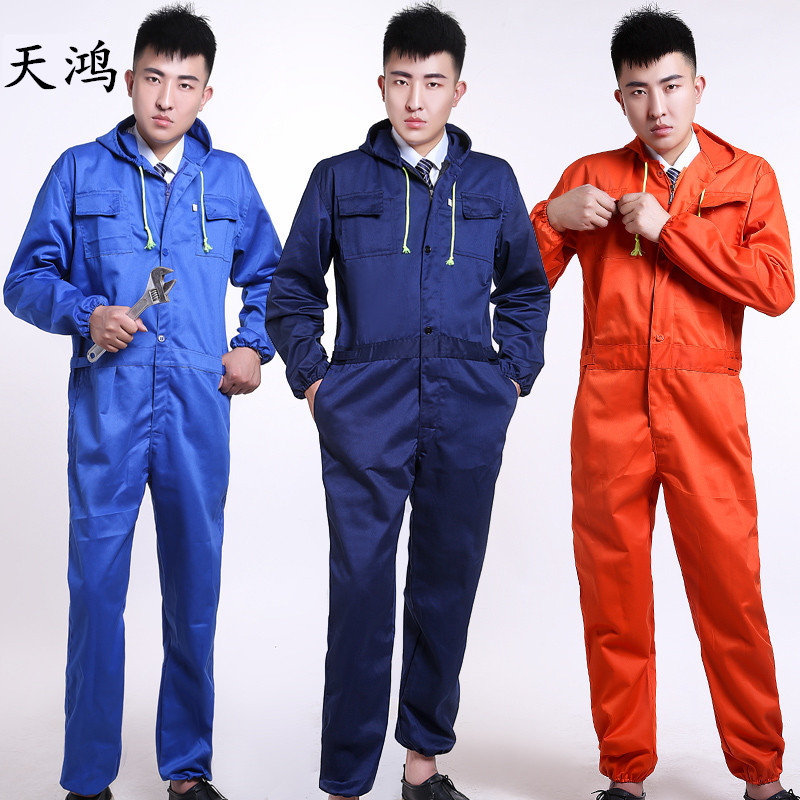 Hooded One-Piece overalls men long-sleeved labor clothing jumpsuit spray  paint dust and 7781028ff40f