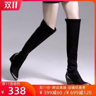 Jadyrose наконечник клинья бедро ботинок женщина европа и америка на высоком кабгалстук-бабочкае удлинитель ботинок эластичность ботинки пакет нога тонкий ботинки, цена 5228 руб