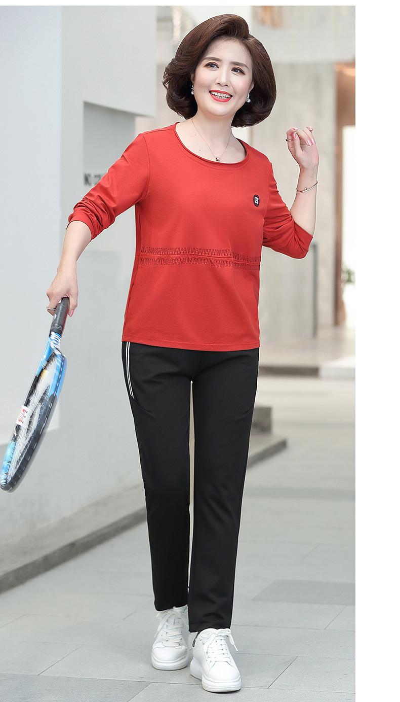 妈妈春装运动服上衣套装中老年人女装纯棉休閒上衣岁长袖恤打底衫详细照片