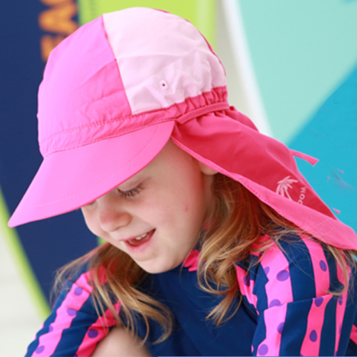 Children s swimming cap with shade along the beach beach swimming cap  children s sunscreen windproof elastic hat 67fd51f7a93