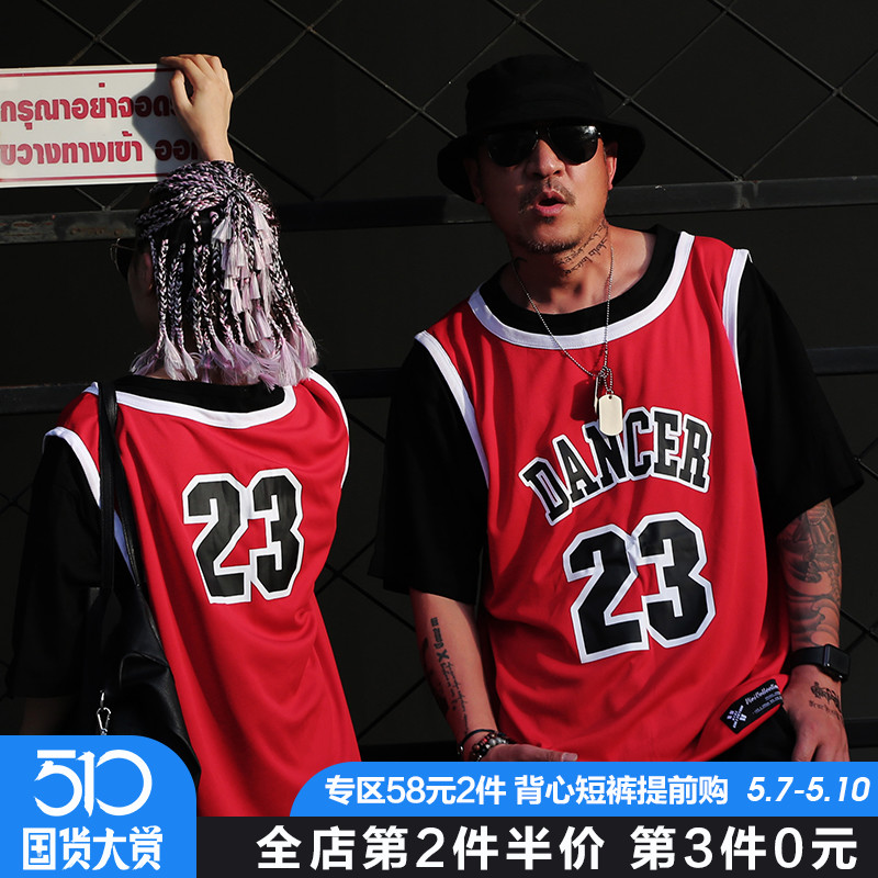 2b4fa43c2d1 Retro Tide brand fake two-piece hip hop short-sleeved T-shirt male Oversize  large size lovers with half-sleeved basketball uniform fat