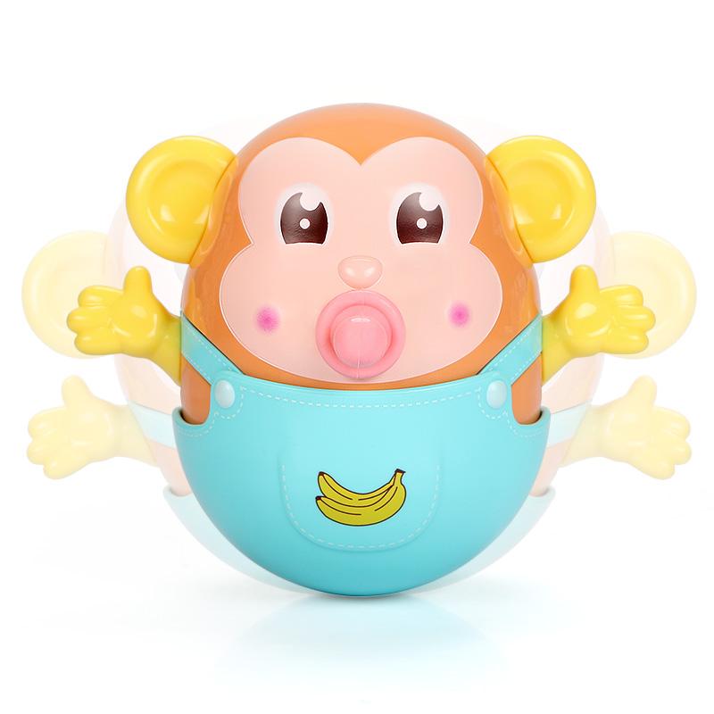 谷雨不倒猴子婴儿戏水不倒翁牙胶3-6-9-12个月宝宝早教益智0-1岁