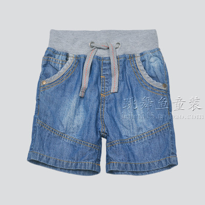 Summer models children 's thin section of the soft denim shorts washed elastic waist boy shorts baby shorts