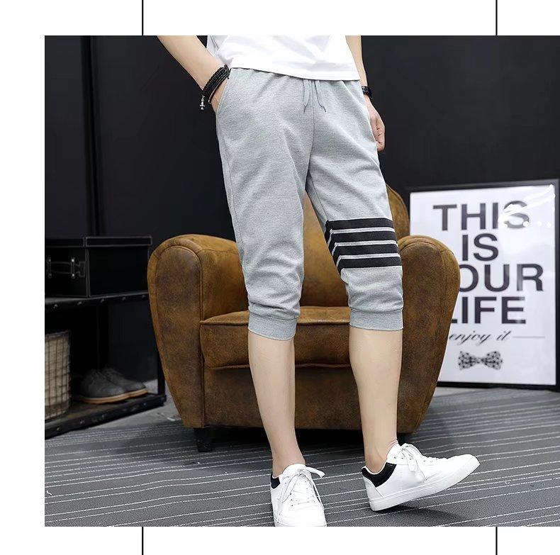 Mùa hè màu đen giản dị cắt quần nam Hàn Quốc phiên bản của tự trồng 7 năm quần phần mỏng quần thủy triều nam ống túm sinh viên quần