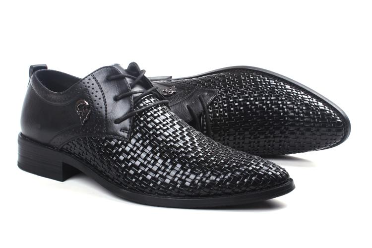 夏季韩版皮鞋男英伦商务镂空透气防臭尖头新款编织内增高6cm男鞋13张