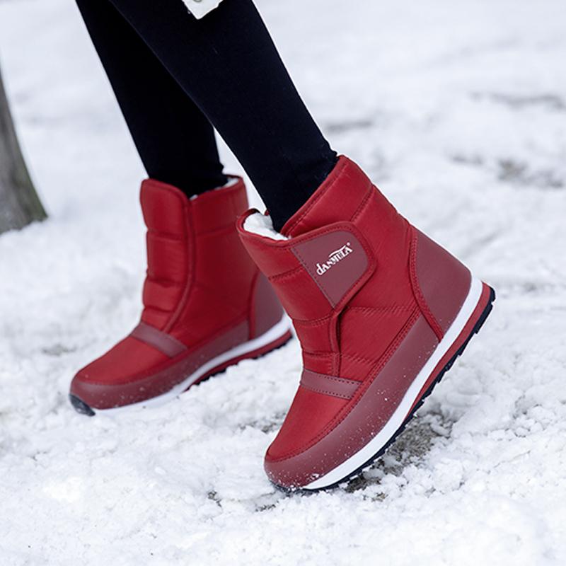棉鞋靴女冬季防滑厚底加绒a棉鞋防水女士鞋加厚短筒雪地东北妈妈