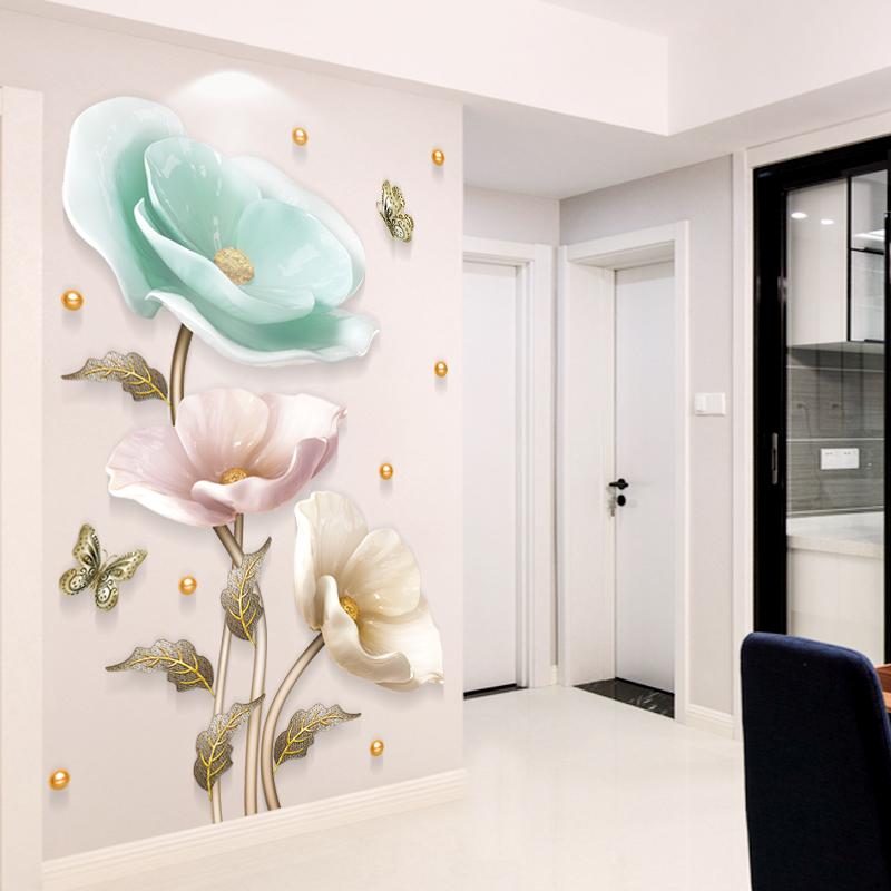3D贴画墙客厅卧室玄关墙墙纸墙壁墙面装饰品贴纸背景自粘贴画立体