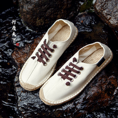 Chinese style casual retro linen men's shoes breathable canvas shoes Hanfu national wind fisherman straw flat shoes summer