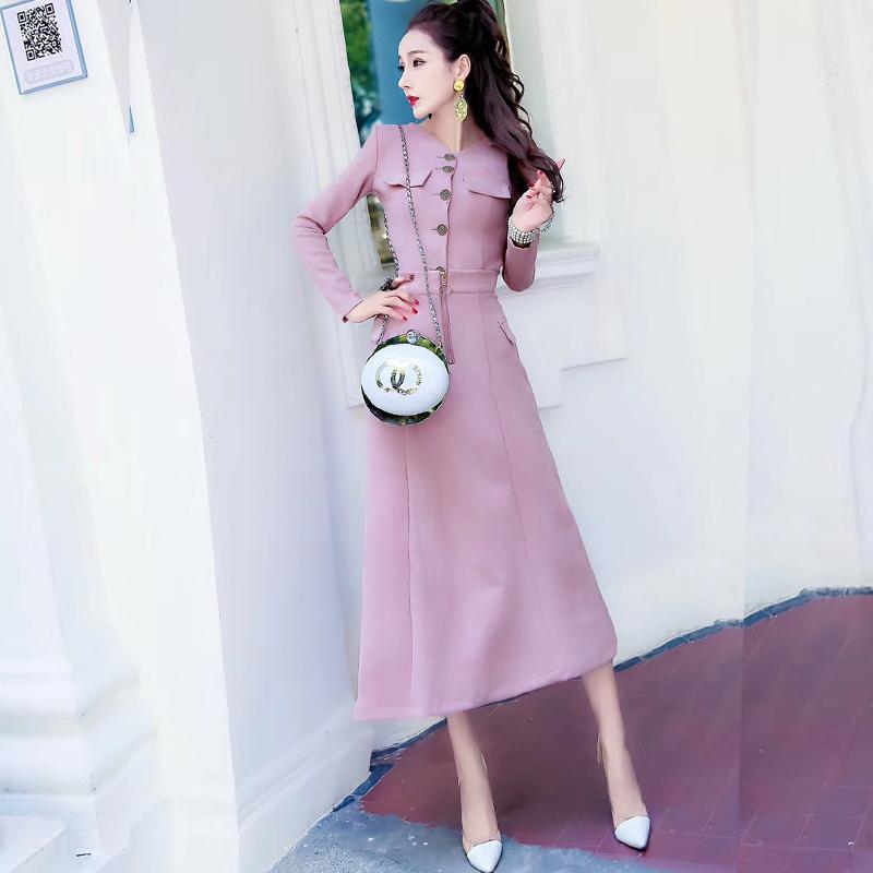 淑女套装甜美少女秋冬新款修身显瘦气质长袖鹿皮绒时尚两件套裙子