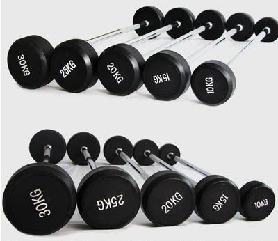 Commercial fixed barbell rubber coated barbell barbell bar barbell sheet gym aerobics straight bar curved bar small barbell