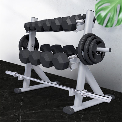 Double-layer dumbbell rack two-layer storage rack double dumbbell dumbbell storage barbell barbell tab storage storage rack