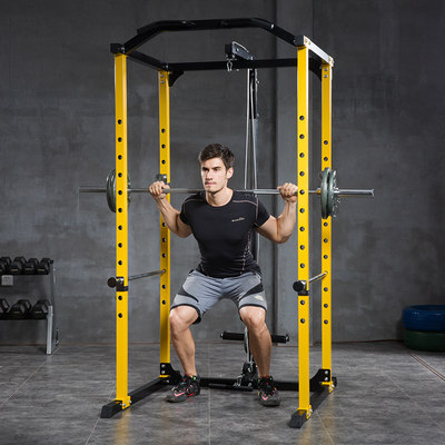 Yulong multifunctional fitness equipment weight bench bench press squat rack gantry barbell set comprehensive training device