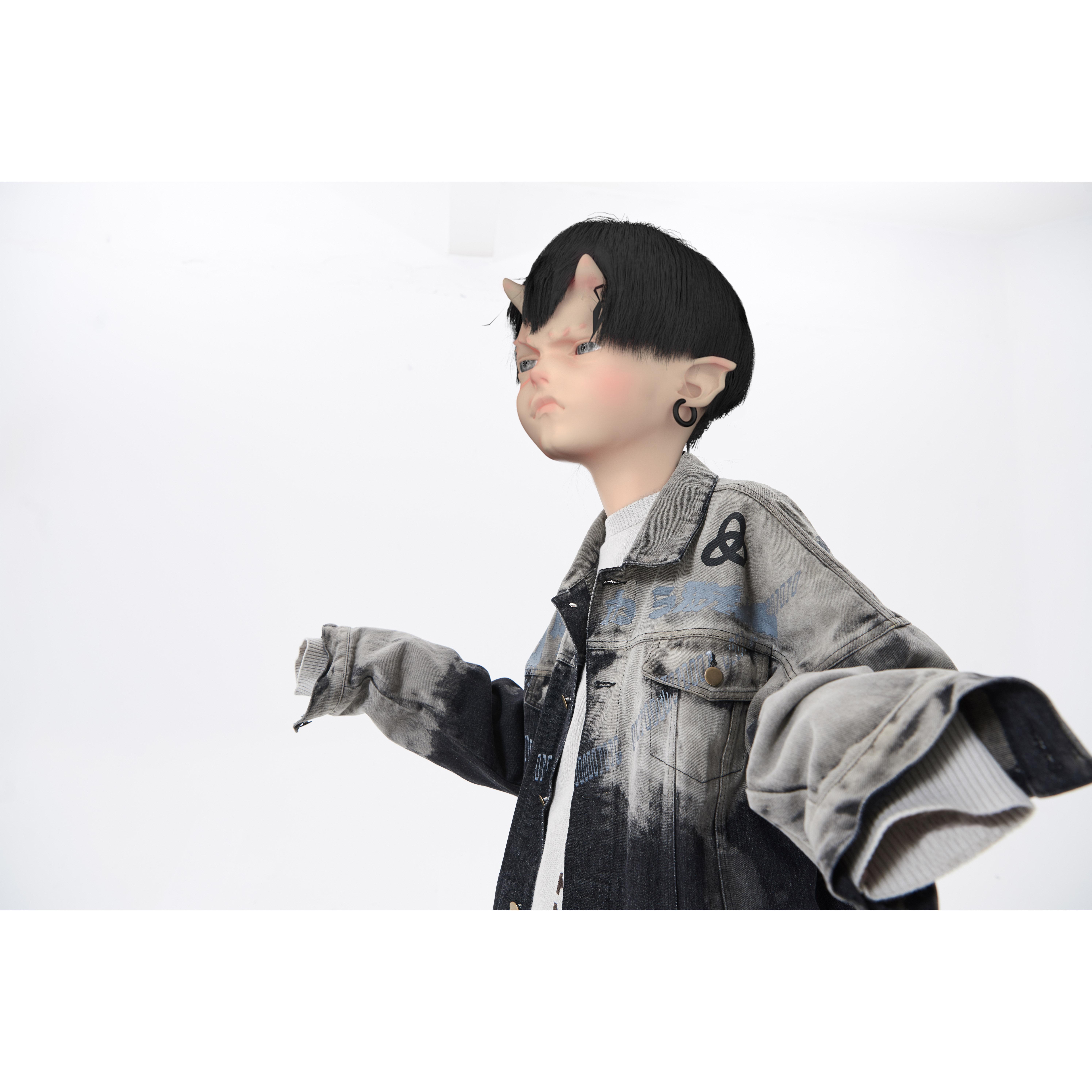 triSEGGA cửa hàng chính thức Dữ liệu nhị phân in áo khoác denim tách màu giặt áo khoác lỏng lẻo - Áo khoác đôi