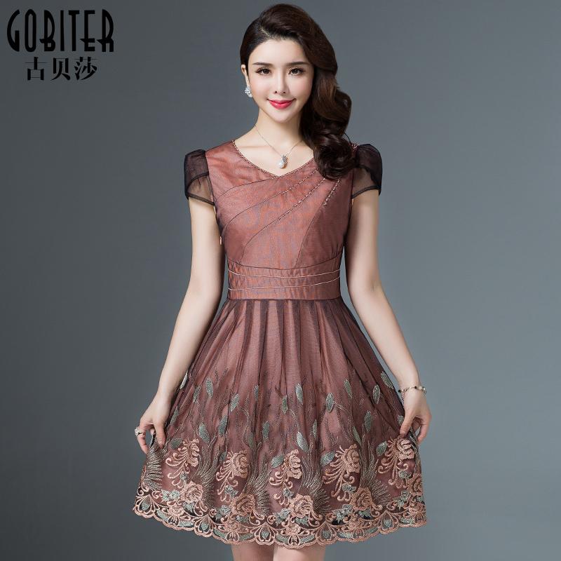古贝莎台湾品牌女装夏高端短袖时尚妈妈刺绣中年蕾丝修身连衣裙潮