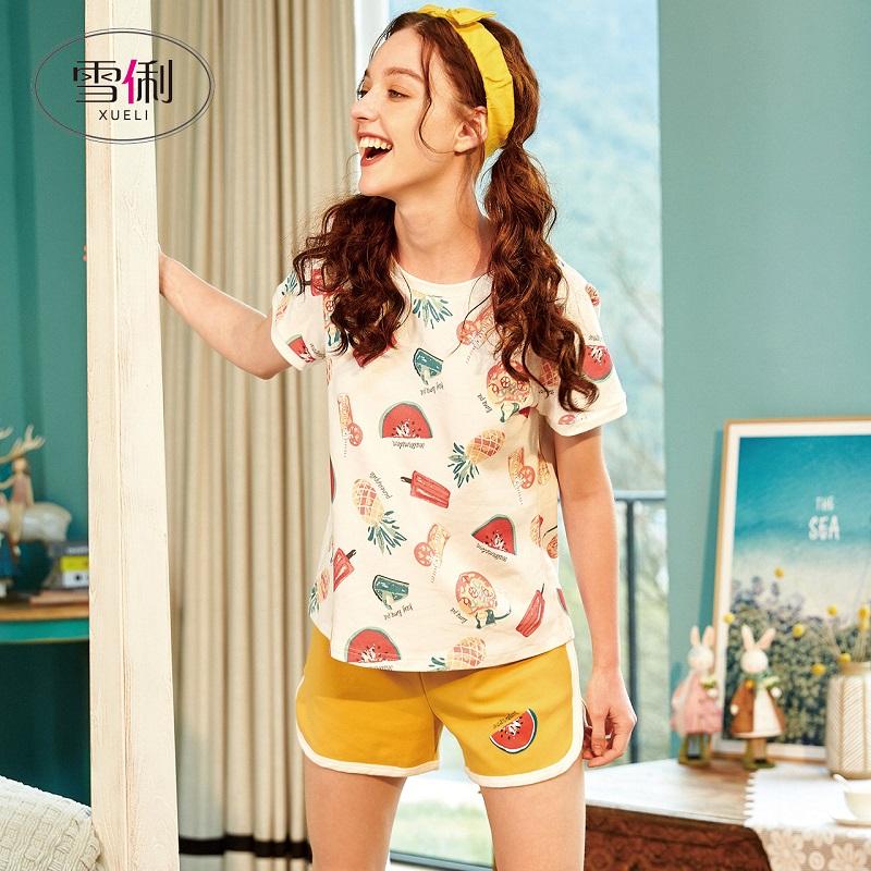 雪俐睡衣女夏季短袖短裤纯棉两件套装韩版清新学生夏天薄款家居服