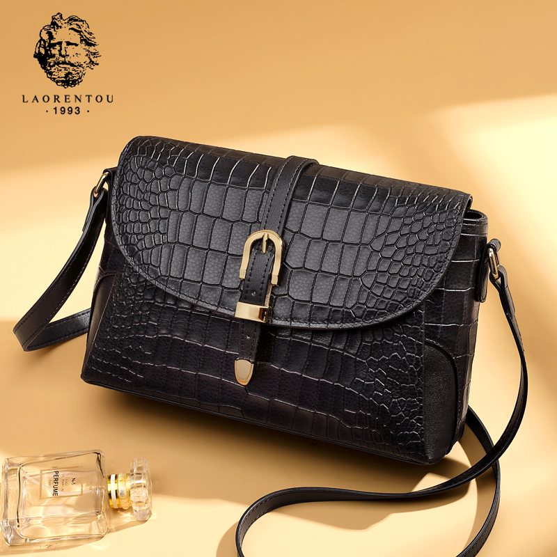 Old man head crocodile Grain Leather Shoulder Bag Bag female 2019 new leisure wild middle-aged cross-body bag female bag