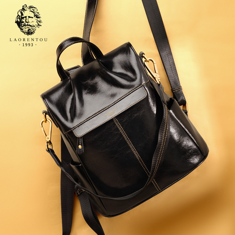 Old man head cowhide anti-shoulder bag woman 2019 new large capacity fashion leather bag leisure travel backpack