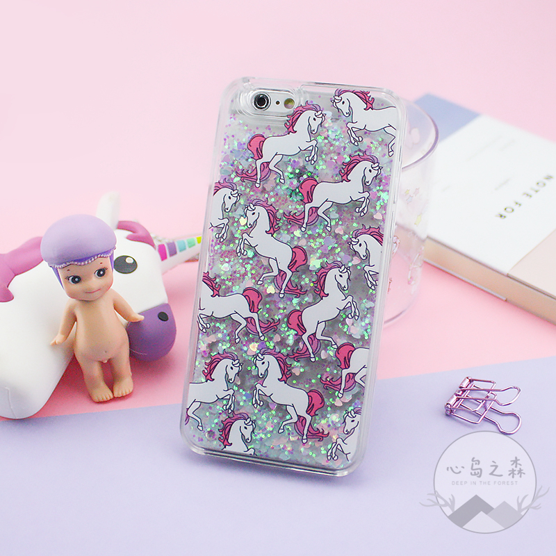 release date: c59c6 b3cb2 Details about GLITTER UNICORN Hearts Skinny Dip Liquid Phone Case Cover For  iPhone 5 5S 6 6S 8