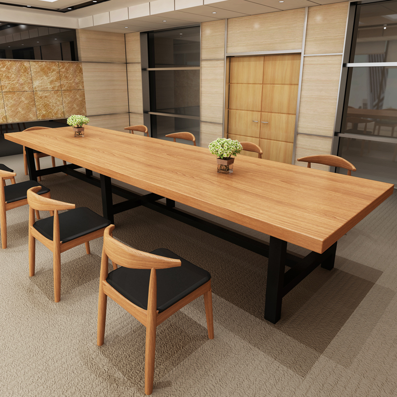 USD Solid Wood Conference Table Simple Modern Long Desk Desk - Desk conference table combination