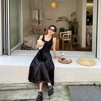 ФФАН общее платье А слово Длинная юбка 2019 новая коллекция Осенний жилет юбка-платье приталенный небольшой черный юбка