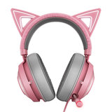 Razer Thunder Snake Beihai Giant Demon Cute Cat Edition Pink Crystal Cat Ears with Light RGB Headset Game Headset Pink Headphones